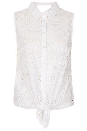 Topshop Broderie Cross-Back Shirt
