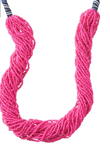LOFT Stripe Ribbon Multi Strand Bead Necklace