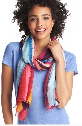 LOFT Painted Stripe Embroidery Scarf