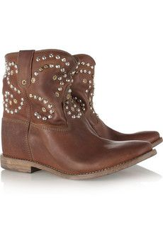 Isabel Marant The Caleen Studded Leather Concealed Wedge Boots