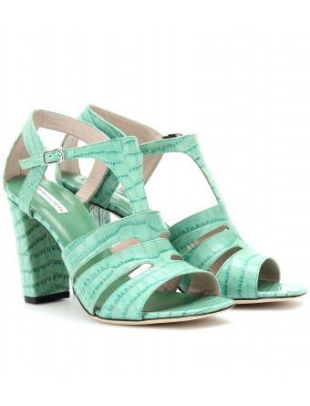 Dries Van Noten  Croco-Embossed T-Strap Leather Sandals