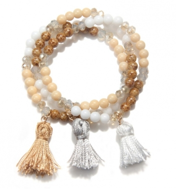 Capwell & Co. Ground Tassel Stretch Bracelet Set