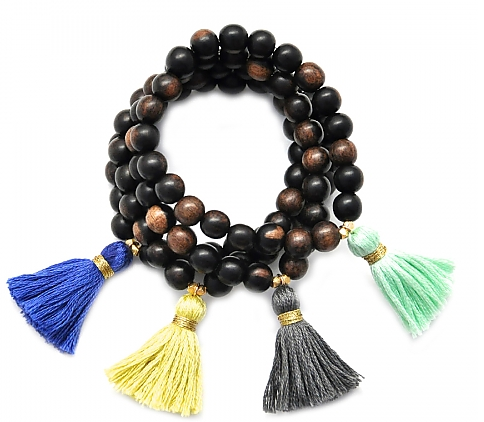 gold & gray Jewelry Dark Wood Tassel Bracelet