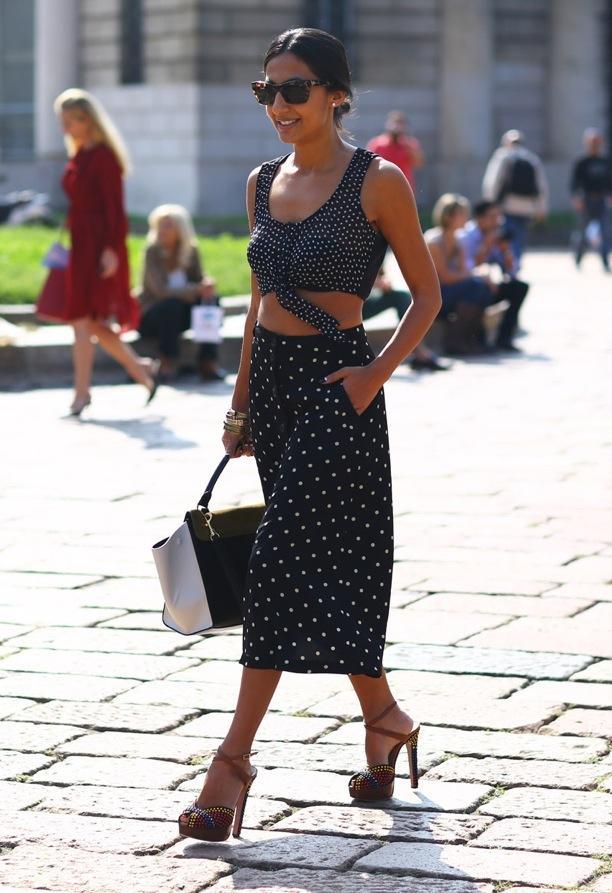 Street Style: Crop Tops + Pocket Midi Skirts