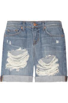 J Brand  Slouchy Boy Fit Shredded Low-Rise Denim Shorts