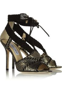 Jimmy Choo  Taper Metallic Elaphe and Suede Sandals