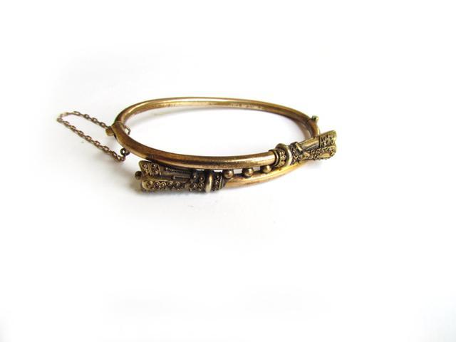 LUXXORVintage Antique Gold Filled Etruscan Hinged Bracelet