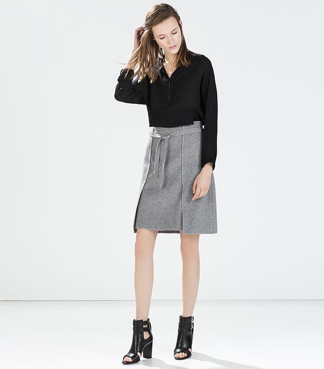 Zara Wool Wrap Skirt