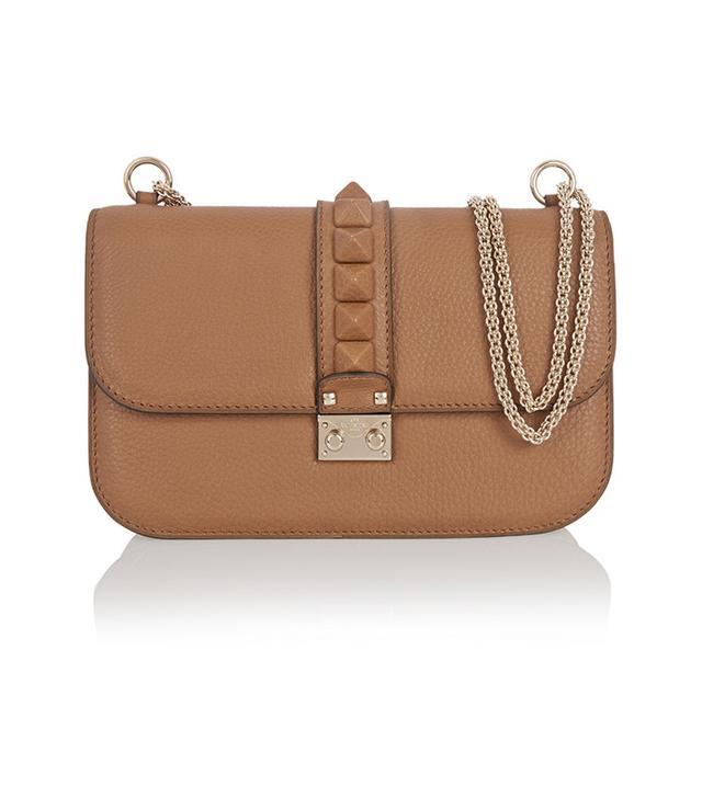 Valentino Lock Medium Textured-Leather Shoulder Bag