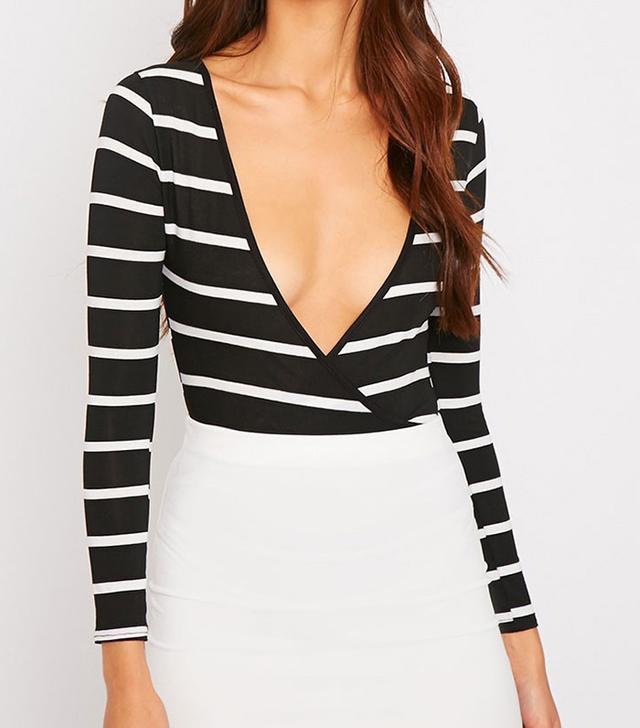 Tessa Black Stripe Wrap Over Plunge Bodysuit