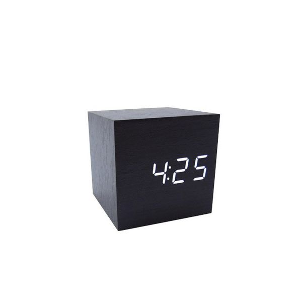 Cube Wood LED Alarm Clock