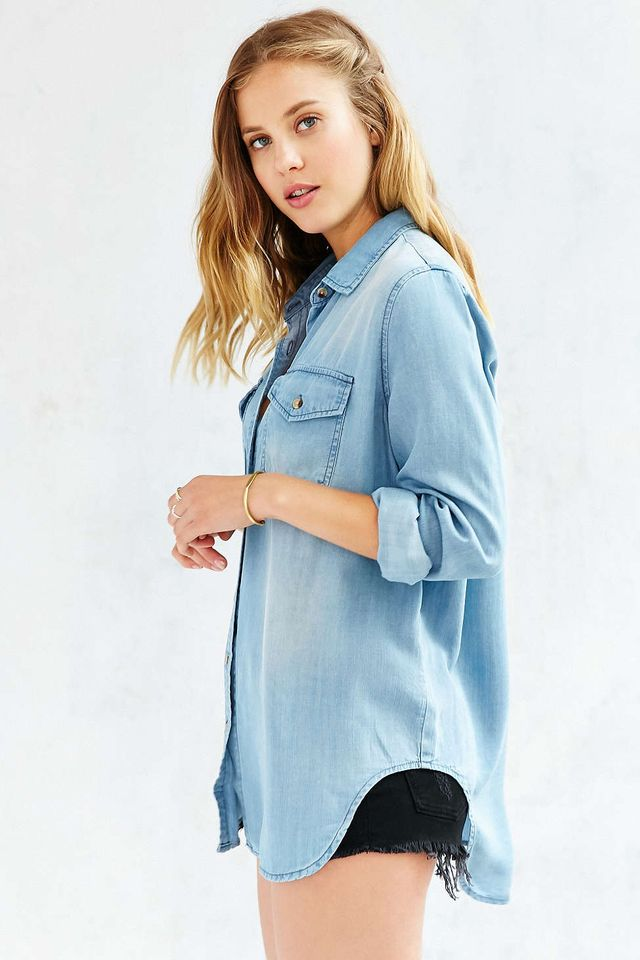 BDG Drapey Denim Button-Down Shirt