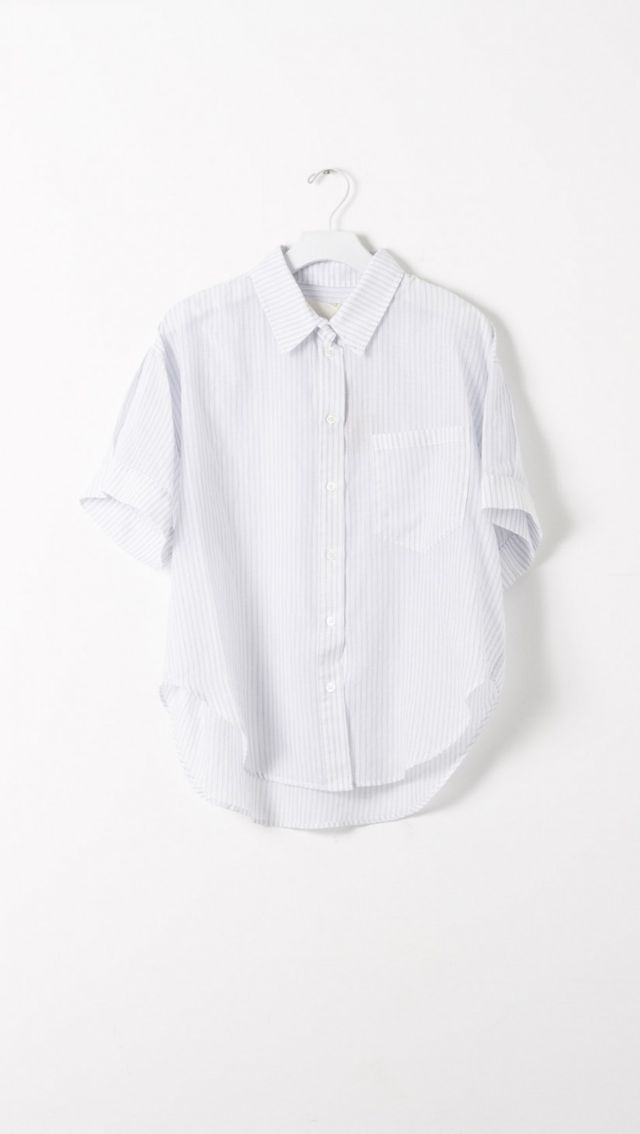 Band of Outsiders Fine Stripe Button-Up Grandpa Shirt