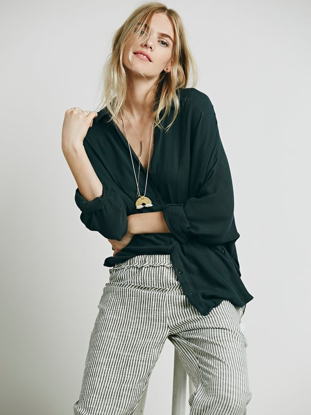 Free People Dropped Seam Buttondown Shirt