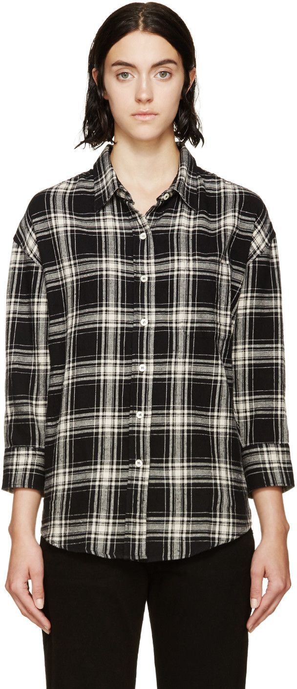 R13 Black Plaid Oversized Shirt