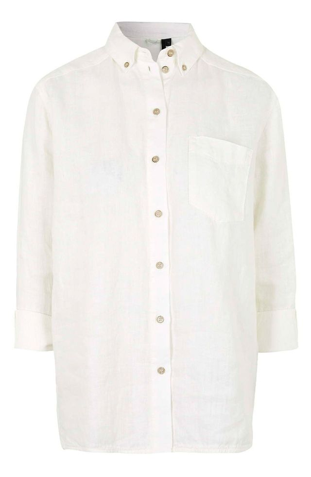 Topshop Linen Button-Front Shirt