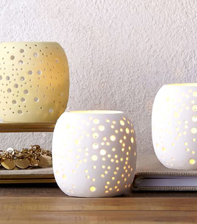 West Elm Pierced Porcelain Tealights in Constellation