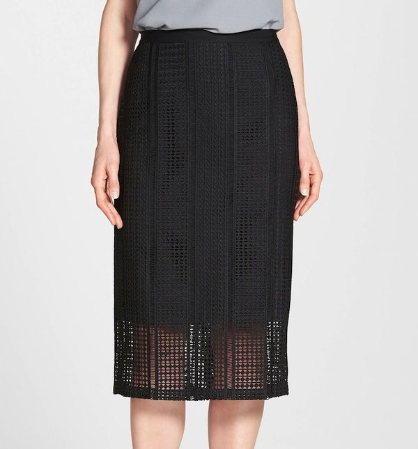 Classiques Entier Triad Eyelet Embroidered Pencil Skirt