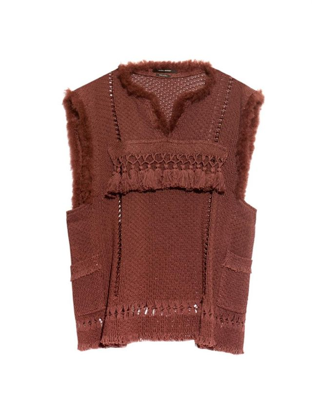 Isabel Marant Tacey Fringed V-Neck Top