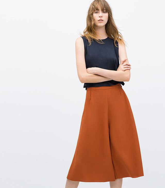 Zara Cropped Jacquard Trousers
