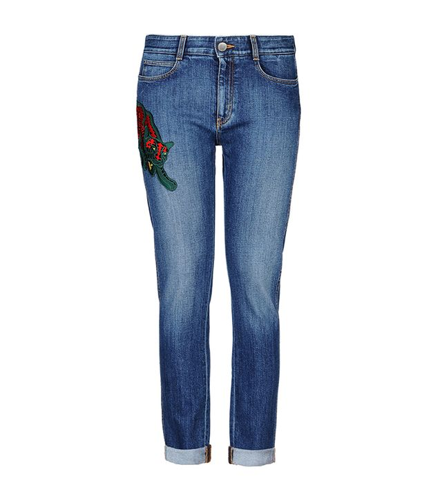 Stella McCartney Wild Cat Patch Skinny Boyfriend Jeans