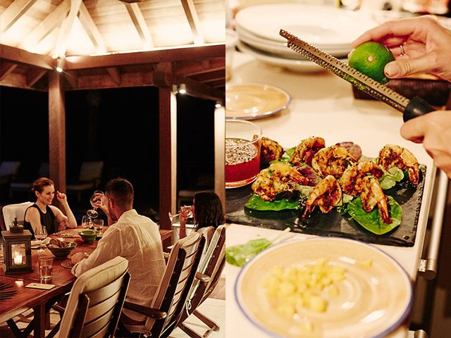 To ensure the first nighton the island was a memorable one, Power enlisted a private chef to prepare a gorgeous four-course Caribbean dinner on the terracefor her party.