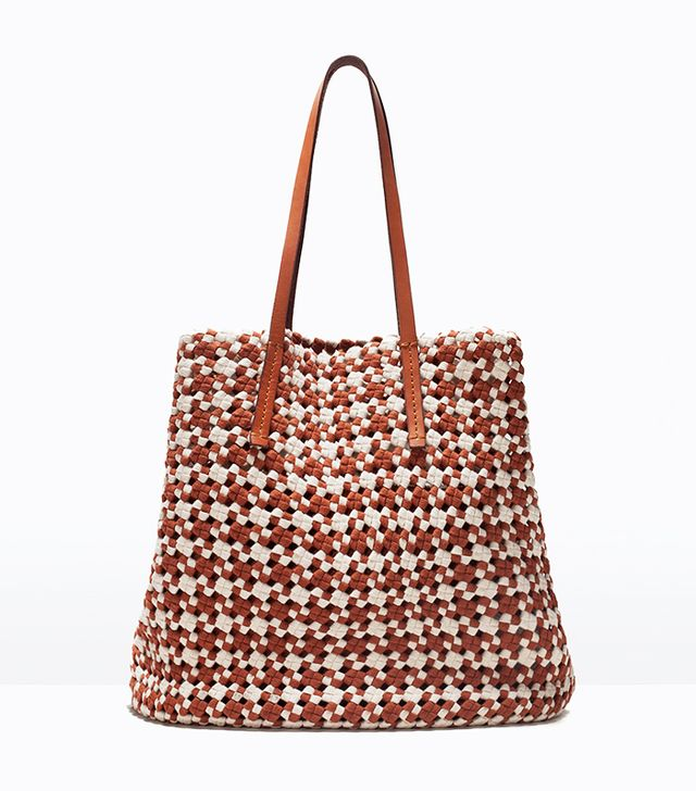 Zara Woven Fabric Shopper