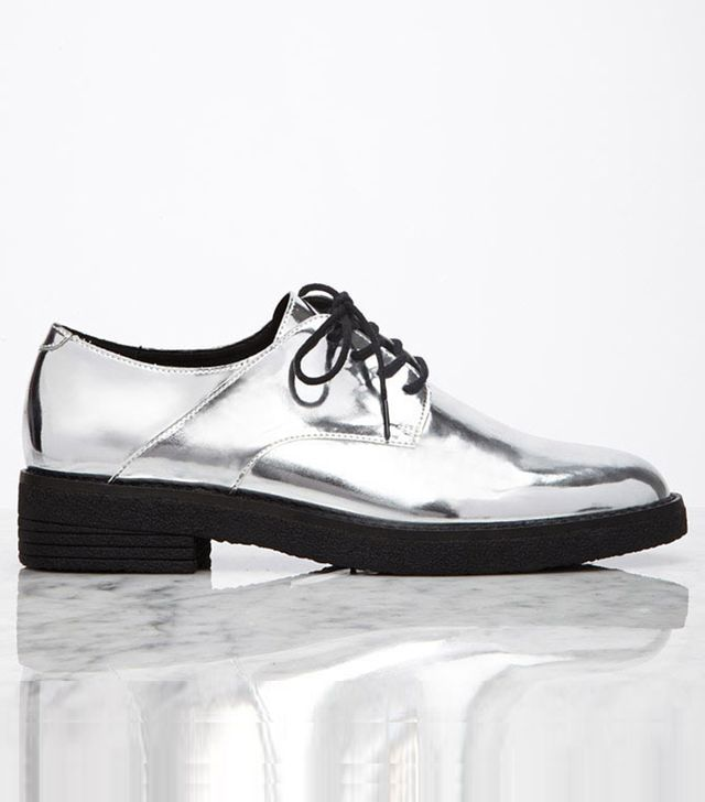 Forever 21 Metallic Faux Patent Oxfords