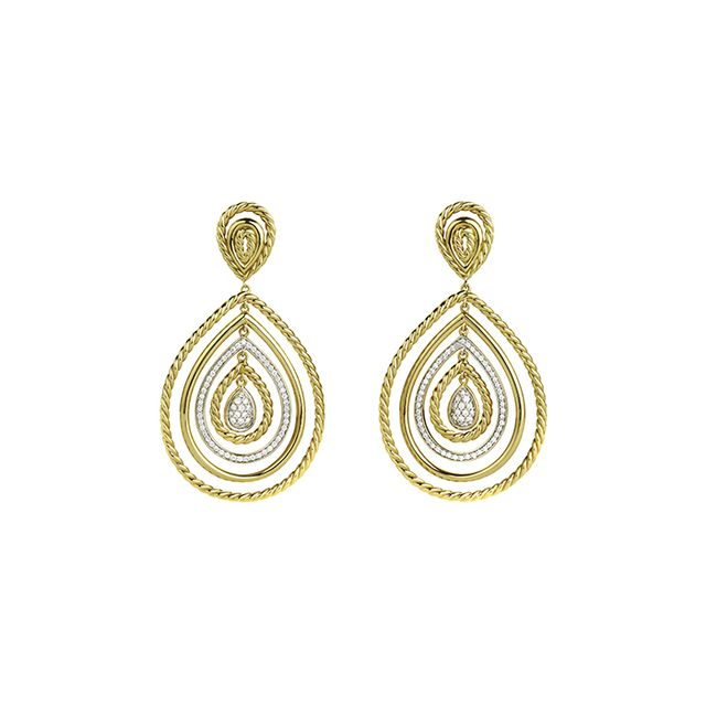 David Yurman Mobile Drop Earrings with Diamonds in Gold