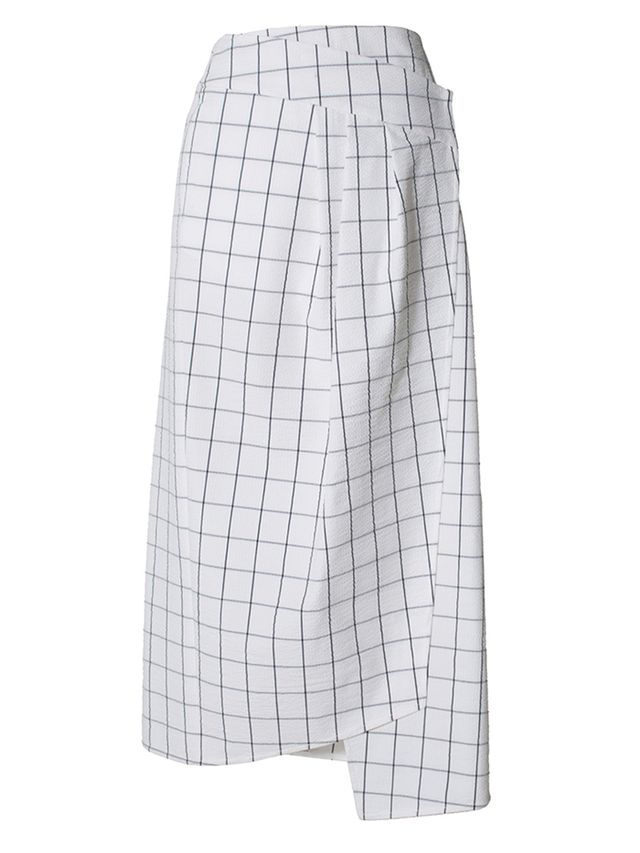 Tibi Mado Seersucker Wrap Skirt