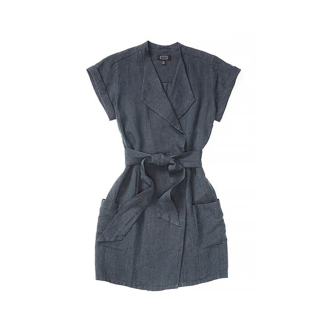 AYR The Linen Roll Sleeve Dress in Grey Mineral