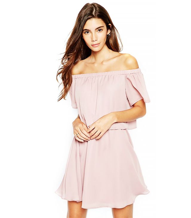 ASOS PETITE Gypsy Off Shoulder Dress with Short Sleeves