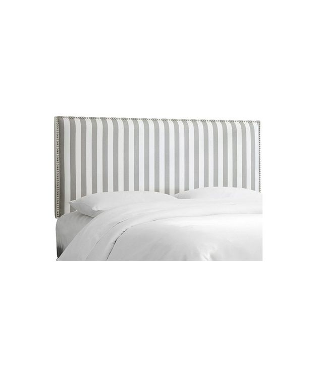 Skyline Stripe Upholstered Nail Button Border Headboard