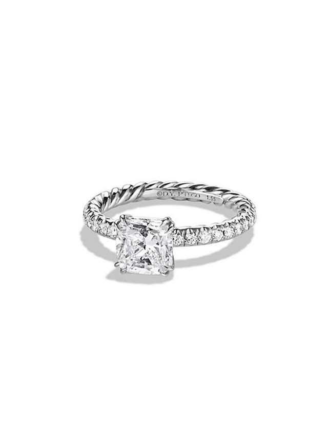 David Yurman Single Row Pave Engagement Ring in Platinum