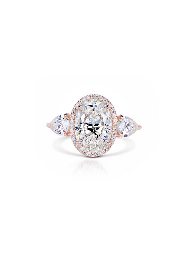 Forevermark Diamond Engagement Ring With Pear Side Diamonds