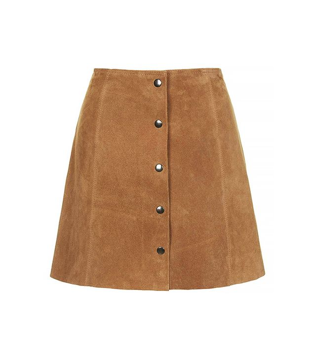 Topshop Suede A-Line Skirt