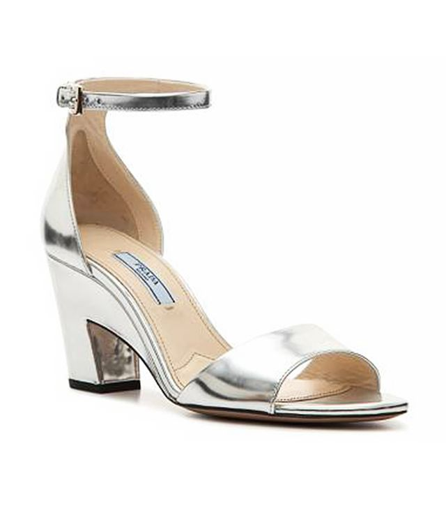 Prada Metallic Leather Ankle Strap Sandal