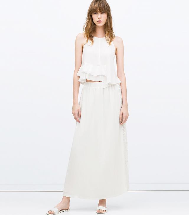 Zara Long Combined Guipure Lace Skirt