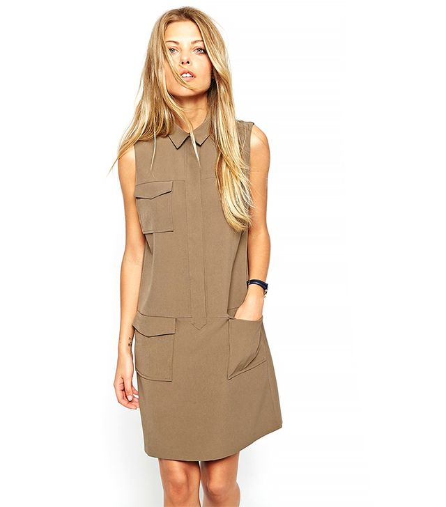 ASOS Shift Dress with Military Pocket Detail