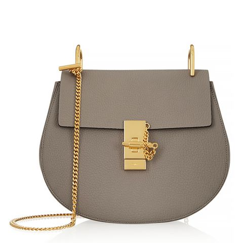 Drew Medium Textured-Leather Shoulder Bag, Grey