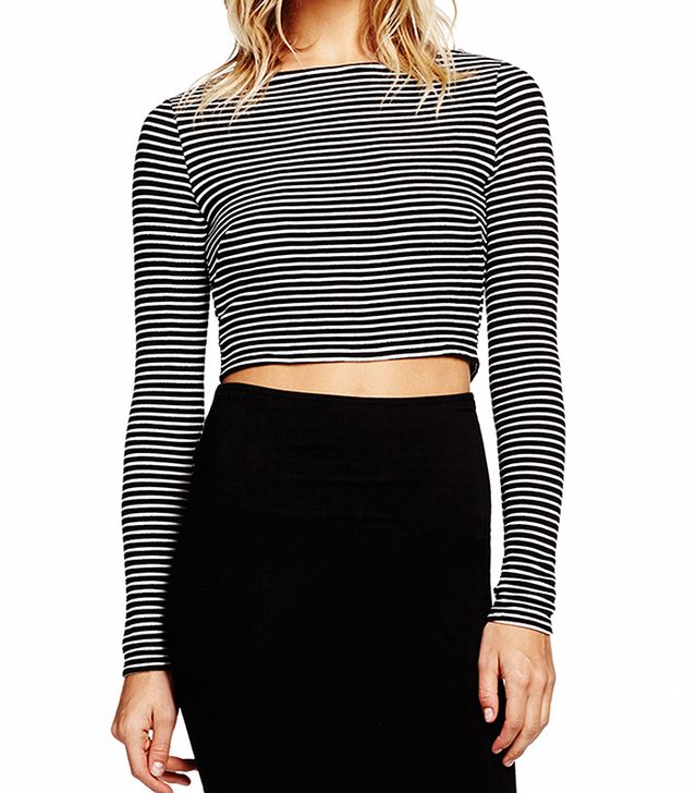 Michael Stars Long Sleeve Striped Crop Top