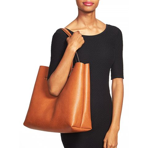 Reversible Vegan Leather Tote & Wristlet, Black/Cognac