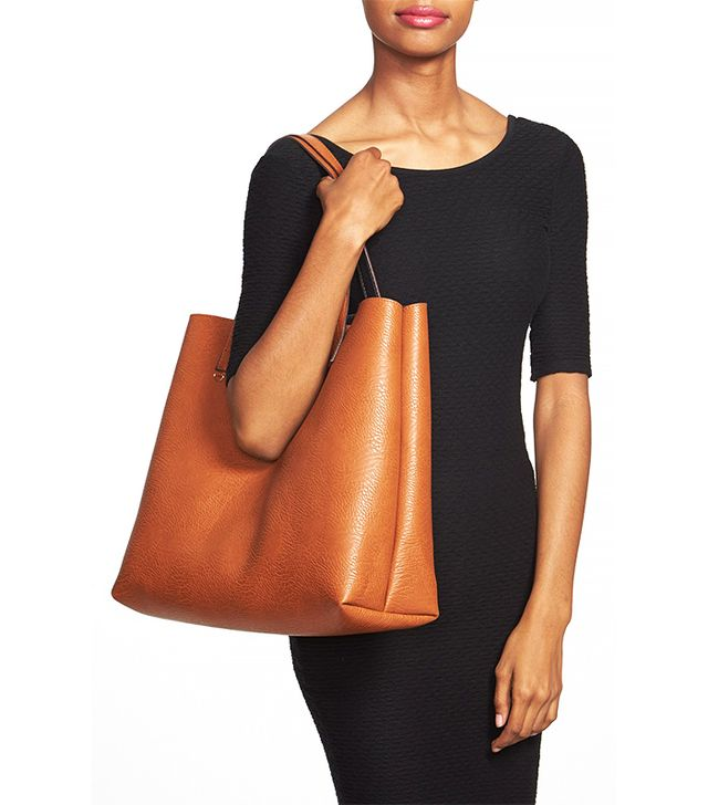 Street Level Reversible Vegan Leather Tote & Wristlet, Black/Cognac