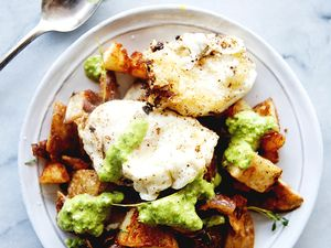 Fried Eggs With Italian Salsa Verde and Fried Smashed Potatoes
