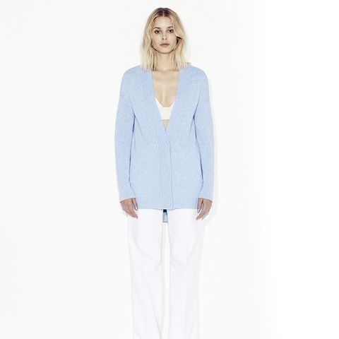 R15 Cashmere Cardigan with Shirttail Hem, Marled Sky