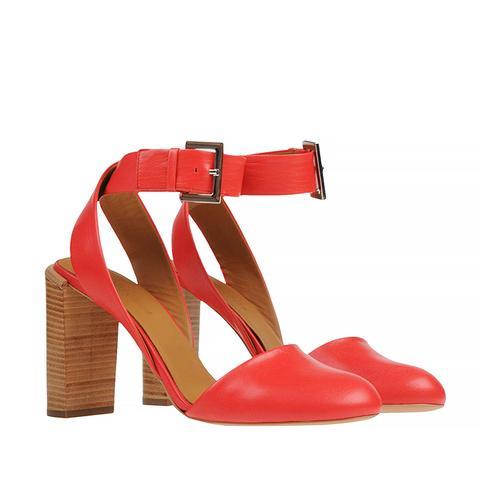 Buckle Strap Heels, Red