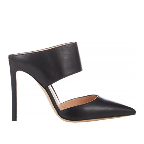 Point-Toe Mules, Black