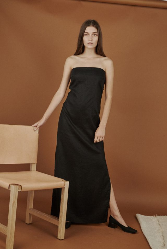 Vintage Linen Evening Dress