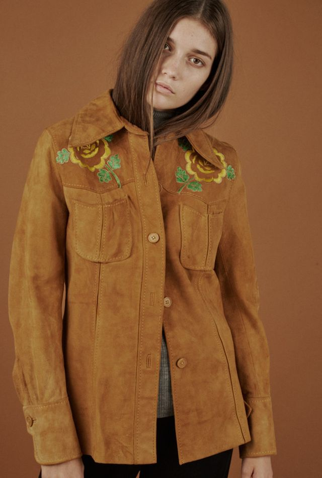 Vintage Suede Embroidered Shirt Jacket