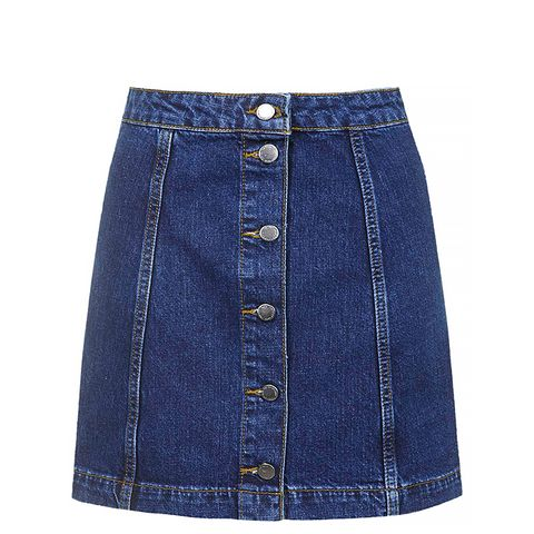Tall Denim Button Front Skirt